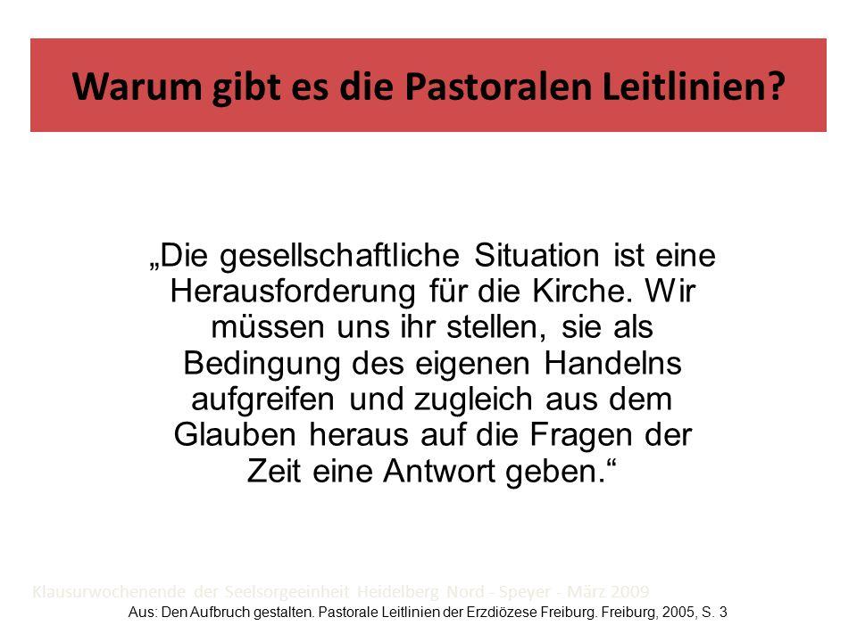 """Klausurwochenende der Seelsorgeeinheit Heidelberg Nord - Speyer - März 2009 """"Die gesellschaftliche Situation ist eine Herausforderung für die Kirche."""