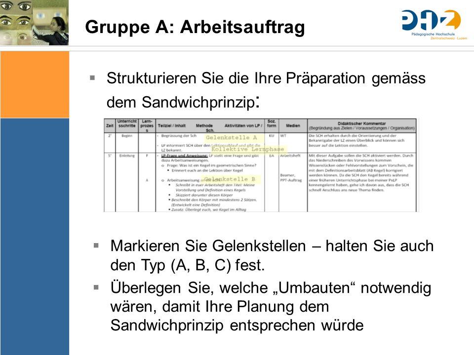 Sache Bedingungen Bedeutung & Sinn Thematik Lernziele Arrangements Ergebnissicherung Evaluation Gruppe A: Arbeitsauftrag  Strukturieren Sie die Ihre