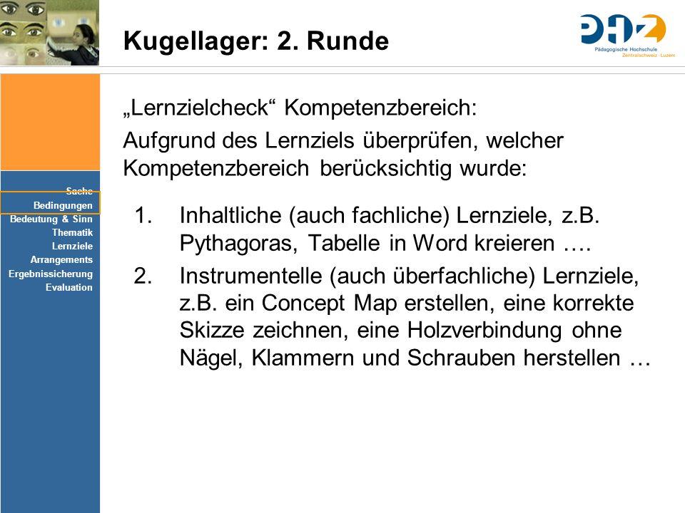 Sache Bedingungen Bedeutung & Sinn Thematik Lernziele Arrangements Ergebnissicherung Evaluation Kugellager: 2. Runde 1.Inhaltliche (auch fachliche) Le