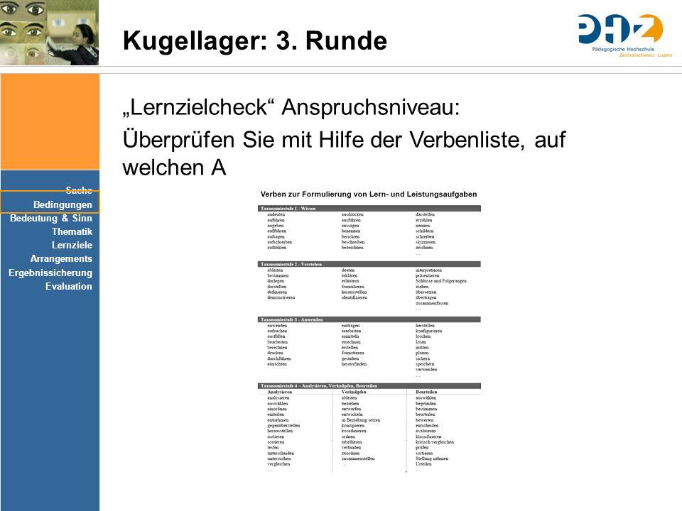 """Sache Bedingungen Bedeutung & Sinn Thematik Lernziele Arrangements Ergebnissicherung Evaluation Kugellager: 3. Runde """"Lernzielcheck"""" Anspruchsniveau:"""