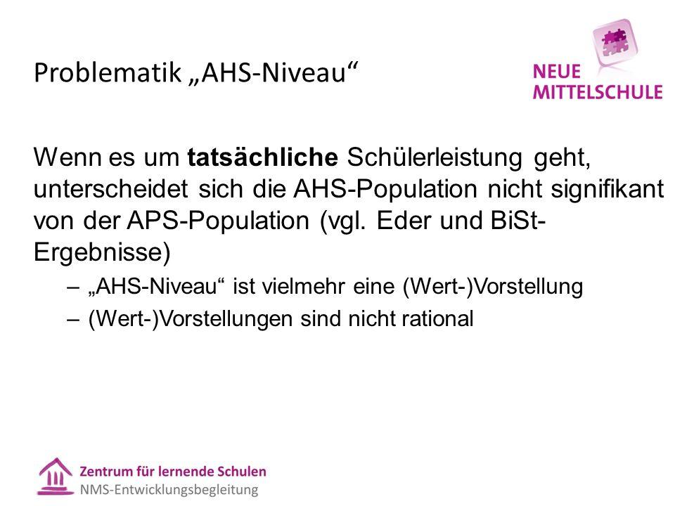 """Problematik """"AHS-Niveau"""" Wenn es um tatsächliche Schülerleistung geht, unterscheidet sich die AHS-Population nicht signifikant von der APS-Population"""