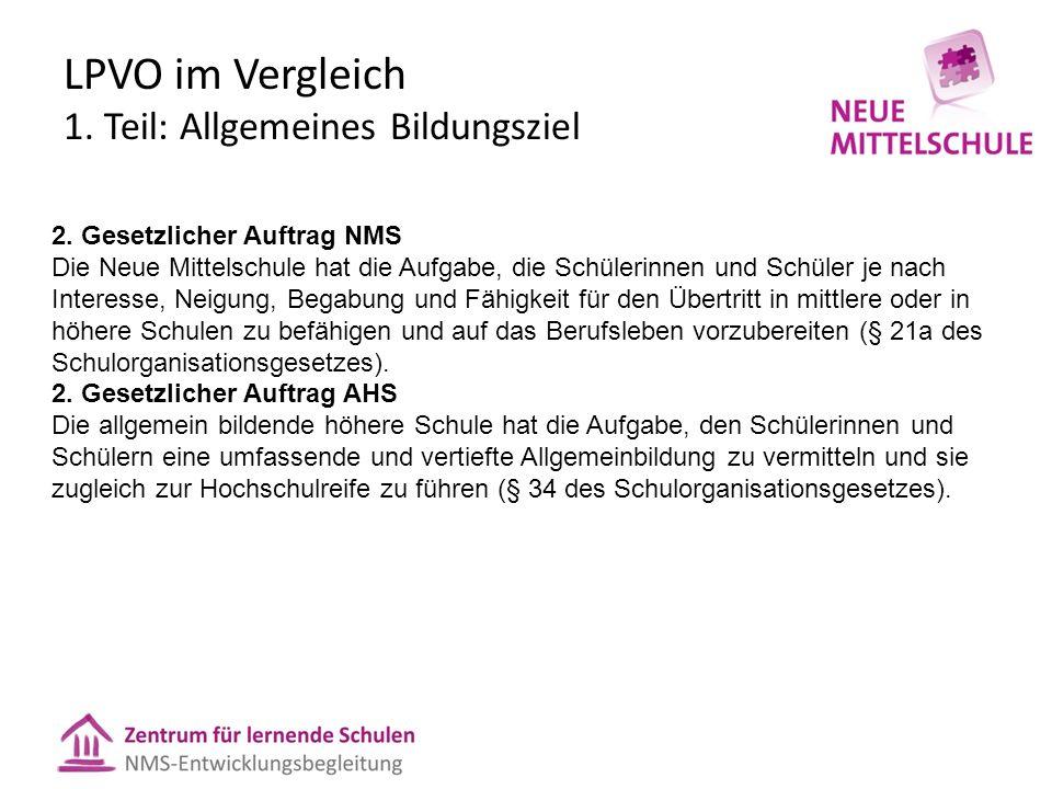LPVO im Vergleich 1. Teil: Allgemeines Bildungsziel 2.