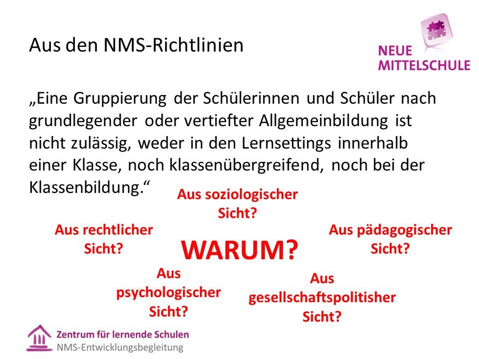 """Aus den NMS-Richtlinien """"Eine Gruppierung der Schülerinnen und Schüler nach grundlegender oder vertiefter Allgemeinbildung ist nicht zulässig, weder i"""