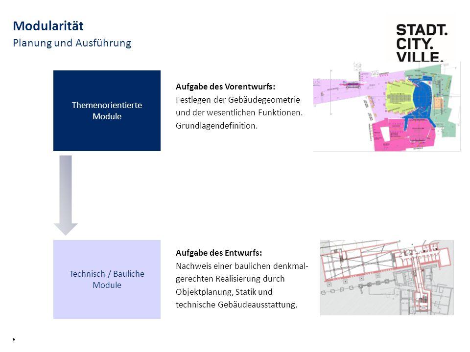 Planung und Ausführung 6 Modularität Themenorientierte Module Technisch / Bauliche Module Aufgabe des Vorentwurfs: Festlegen der Gebäudegeometrie und der wesentlichen Funktionen.