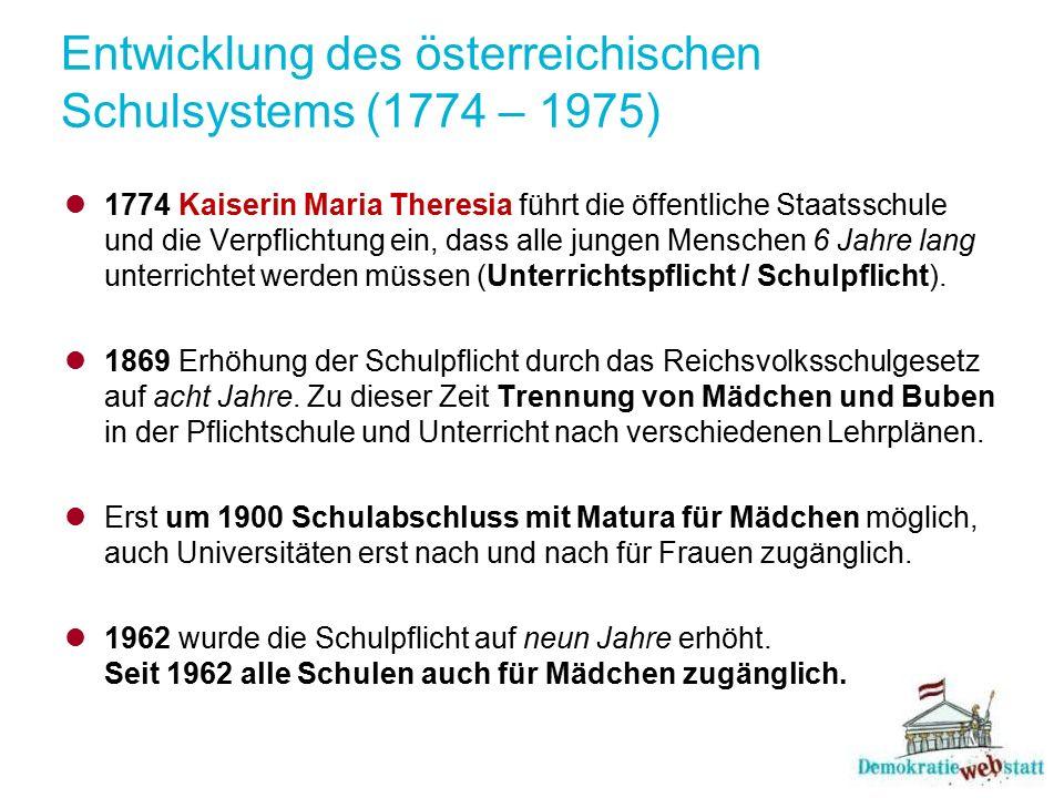 Entwicklung des österreichischen Schulsystems (1774 – 1975) 1774 Kaiserin Maria Theresia führt die öffentliche Staatsschule und die Verpflichtung ein,