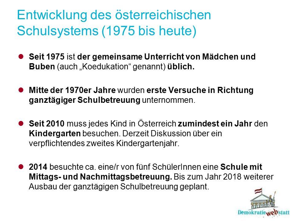 """Entwicklung des österreichischen Schulsystems (1975 bis heute) Seit 1975 ist der gemeinsame Unterricht von Mädchen und Buben (auch """"Koedukation"""" genan"""