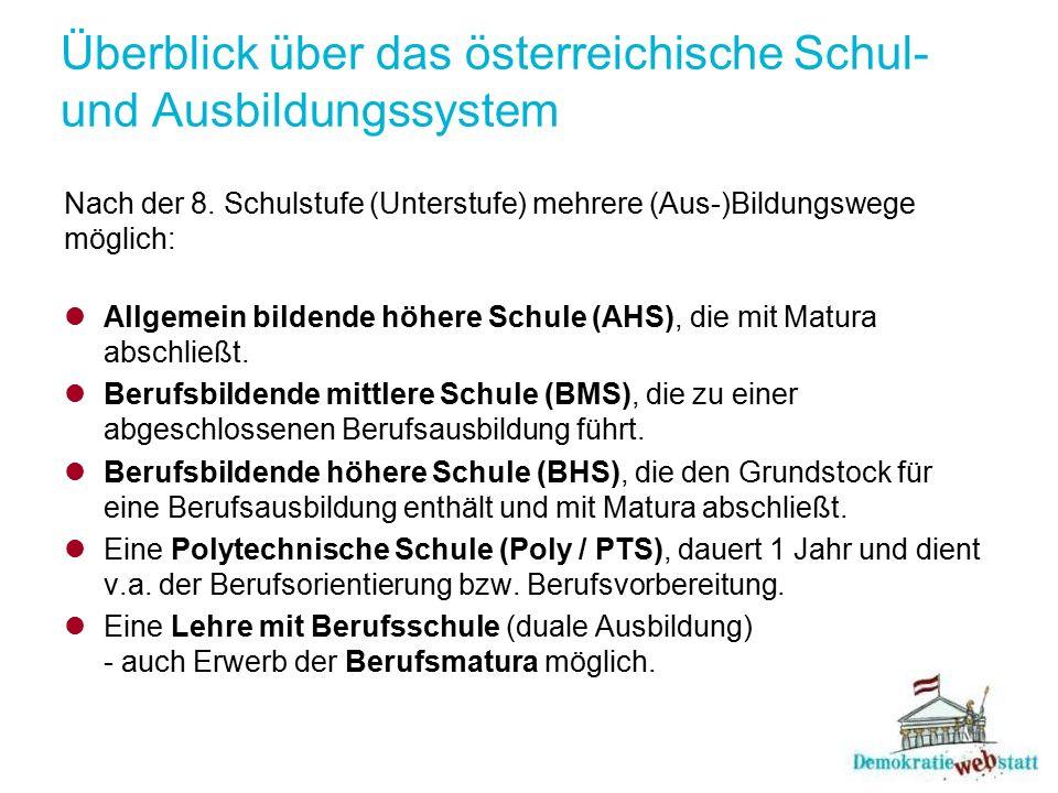 Überblick über das österreichische Schul- und Ausbildungssystem Nach der 8. Schulstufe (Unterstufe) mehrere (Aus-)Bildungswege möglich: Allgemein bild