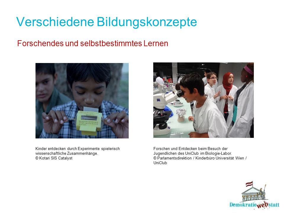 Verschiedene Bildungskonzepte Forschendes und selbstbestimmtes Lernen Kinder entdecken durch Experimente spielerisch wissenschaftliche Zusammenhänge.