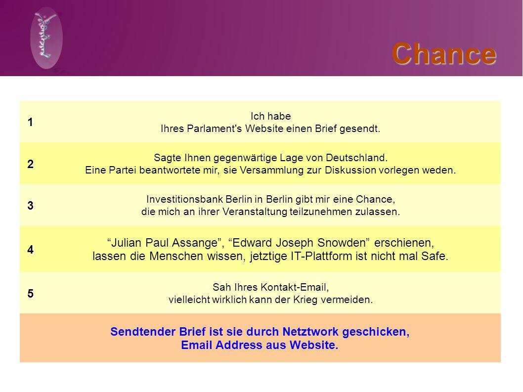 Chance1 Ich habe Ihres Parlament's Website einen Brief gesendt.2 Sagte Ihnen gegenwärtige Lage von Deutschland. Eine Partei beantwortete mir, sie Vers