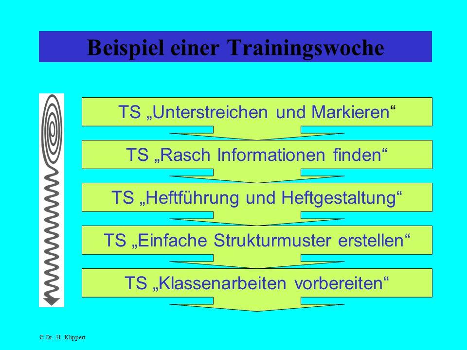 """Beispiel einer Trainingswoche TS """"Unterstreichen und Markieren TS """"Rasch Informationen finden TS """"Heftführung und Heftgestaltung TS """"Einfache Strukturmuster erstellen TS """"Klassenarbeiten vorbereiten"""