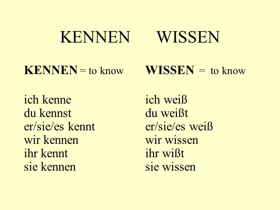 KENNEN WISSEN KENNEN = to know ich kenne du kennst er/sie/es kennt wir kennen ihr kennt sie kennen WISSEN = to know ich weiß du weißt er/sie/es weiß w