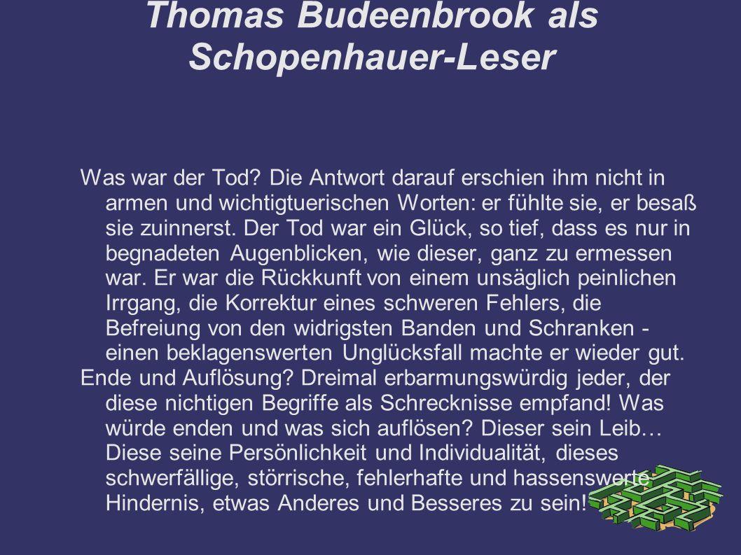 Thomas Budeenbrook als Schopenhauer-Leser Was war der Tod.