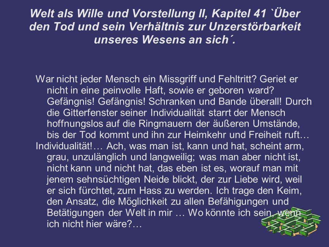 Welt als Wille und Vorstellung II, Kapitel 41 `Über den Tod und sein Verhältnis zur Unzerstörbarkeit unseres Wesens an sich´.
