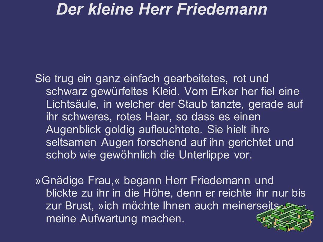 Der kleine Herr Friedemann Sie trug ein ganz einfach gearbeitetes, rot und schwarz gewürfeltes Kleid.