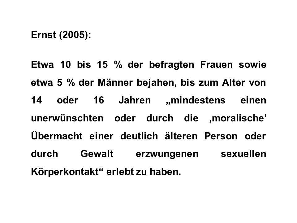 """Ernst (2005): Etwa 10 bis 15 % der befragten Frauen sowie etwa 5 % der Männer bejahen, bis zum Alter von 14 oder 16 Jahren """"mindestens einen unerwünschten oder durch die 'moralische' Übermacht einer deutlich älteren Person oder durch Gewalt erzwungenen sexuellen Körperkontakt erlebt zu haben."""
