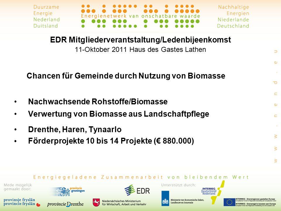 EDR Mitgliederverantstaltung/Ledenbijeenkomst 11-Oktober 2011 Haus des Gastes Lathen Chancen f ü r Gemeinde durch Nutzung von Biomasse Nachwachsende Rohstoffe/Biomasse Verwertung von Biomasse aus Landschaftpflege Drenthe, Haren, Tynaarlo F ö rderprojekte 10 bis 14 Projekte (€ 880.000)