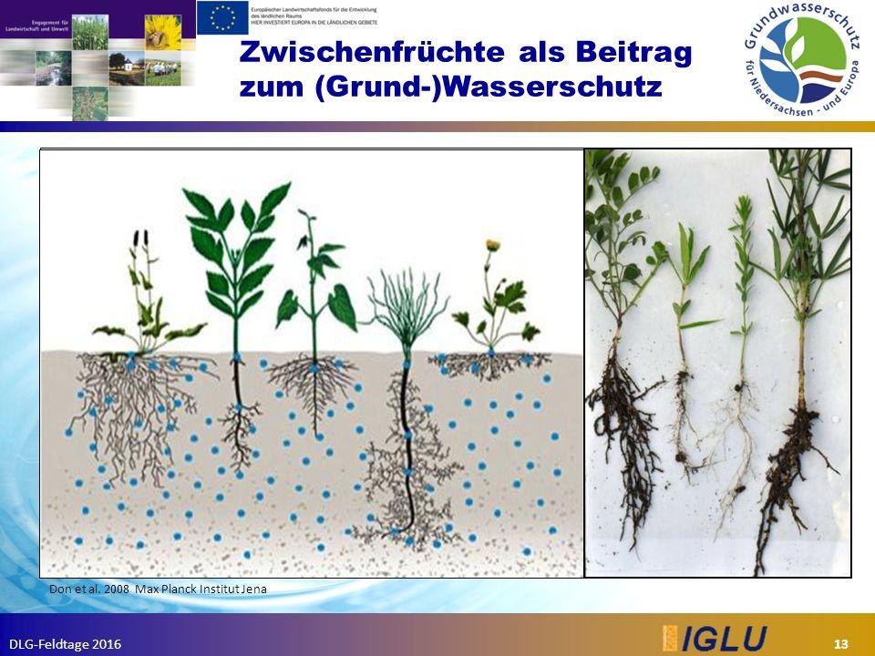 DLG-Feldtage 2016 Zwischenfrüchte als Beitrag zum (Grund-)Wasserschutz 13 Don et al.