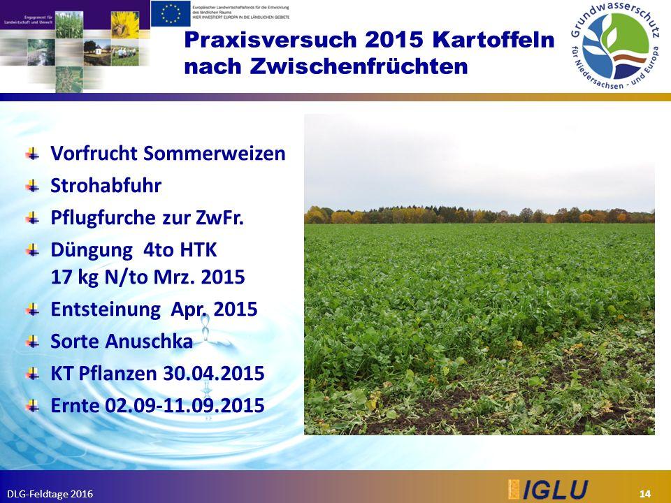 DLG-Feldtage 2016 Praxisversuch 2015 Kartoffeln nach Zwischenfrüchten 14 Vorfrucht Sommerweizen Strohabfuhr Pflugfurche zur ZwFr.