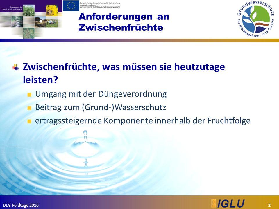DLG-Feldtage 2016 Anforderungen an Zwischenfrüchte Zwischenfrüchte, was müssen sie heutzutage leisten.