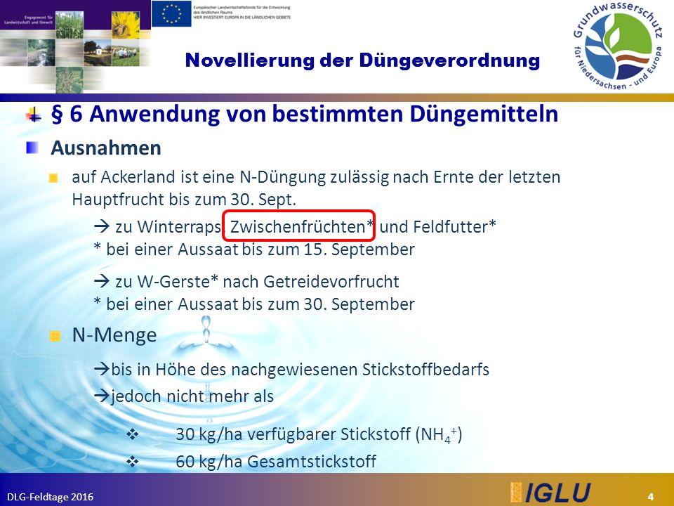 DLG-Feldtage 2016 Novellierung der Düngeverordnung § 6 Anwendung von bestimmten Düngemitteln Ausnahmen auf Ackerland ist eine N-Düngung zulässig nach Ernte der letzten Hauptfrucht bis zum 30.
