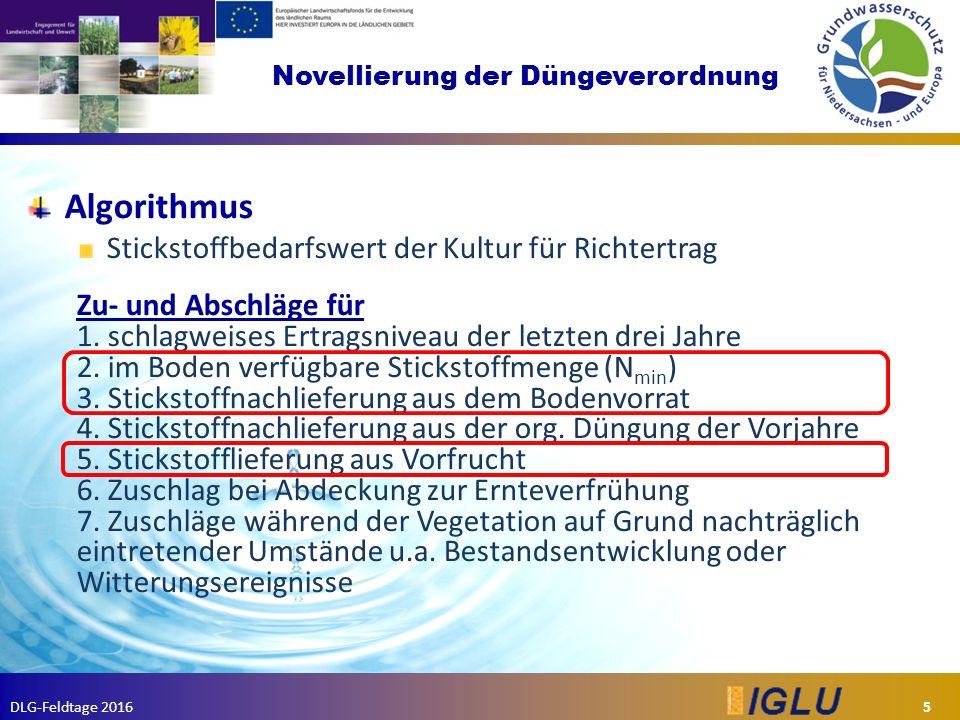 DLG-Feldtage 2016 Novellierung der Düngeverordnung Algorithmus Stickstoffbedarfswert der Kultur für Richtertrag Zu- und Abschläge für 1.
