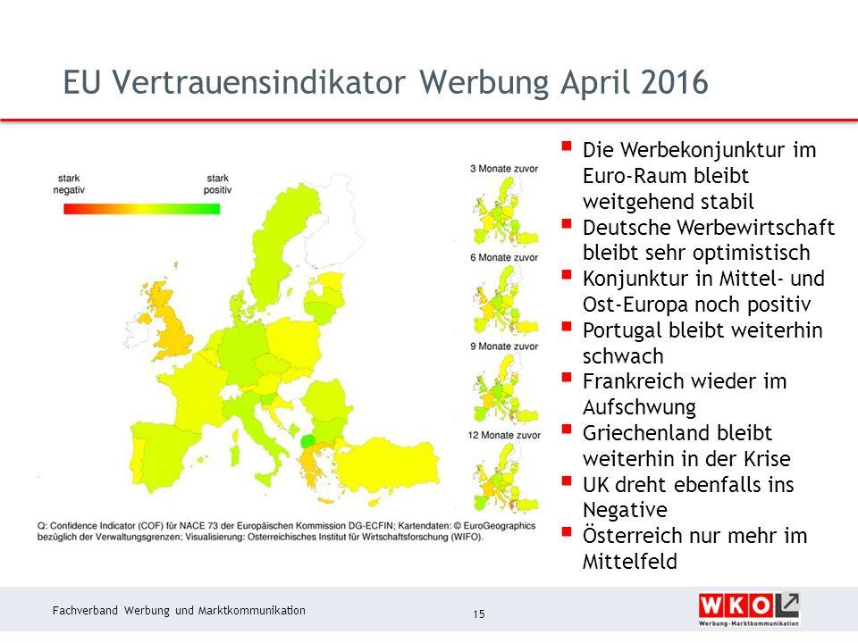 Fachverband Werbung und Marktkommunikation EU Vertrauensindikator Werbung April 2016 15  Die Werbekonjunktur im Euro-Raum bleibt weitgehend stabil 