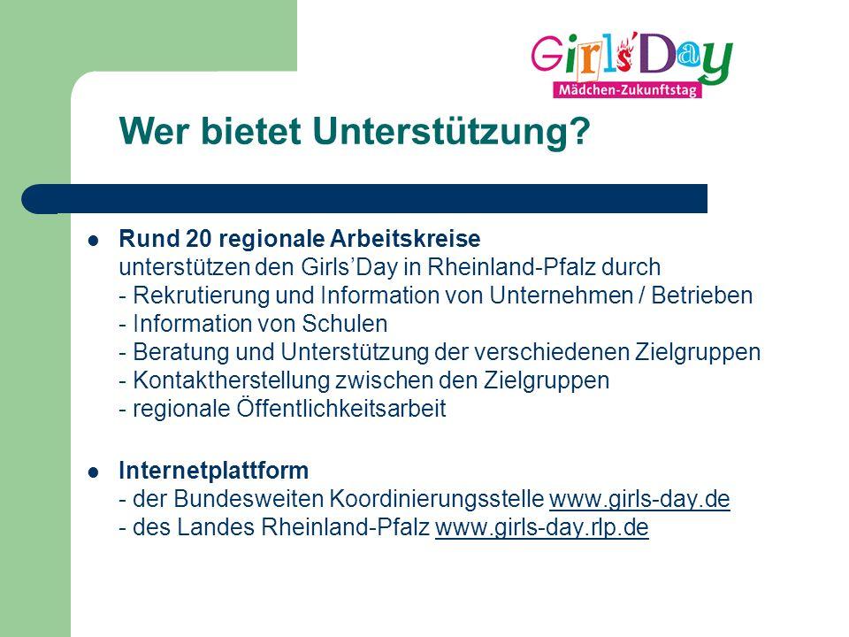 Wer bietet Unterstützung? Rund 20 regionale Arbeitskreise unterstützen den Girls'Day in Rheinland-Pfalz durch - Rekrutierung und Information von Unter