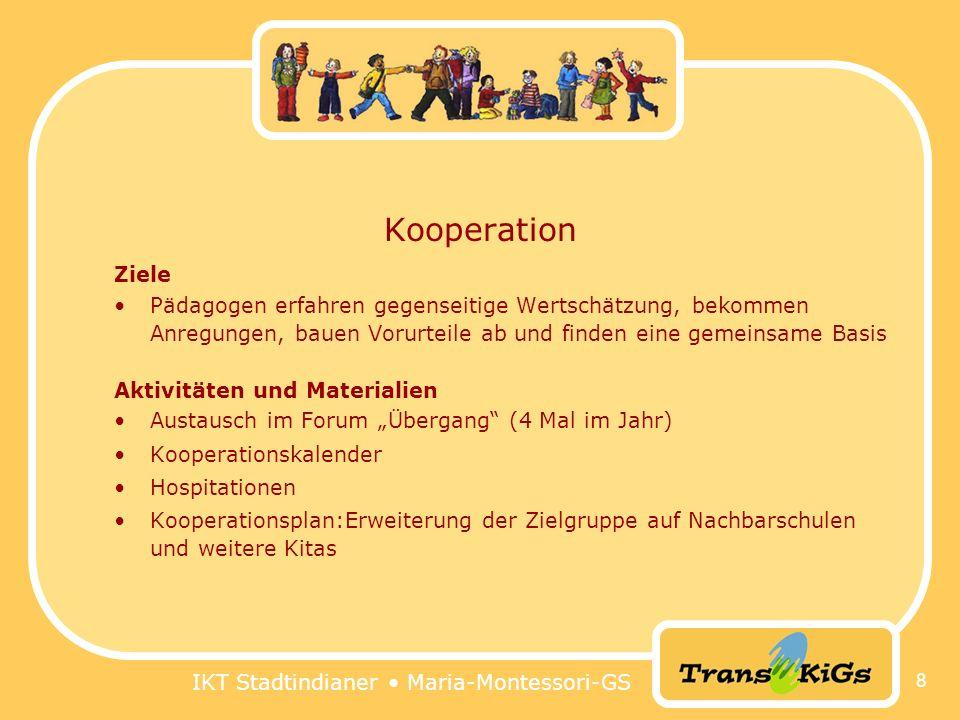 IKT Stadtindianer Maria-Montessori-GS 8 Kooperation Ziele Pädagogen erfahren gegenseitige Wertschätzung, bekommen Anregungen, bauen Vorurteile ab und