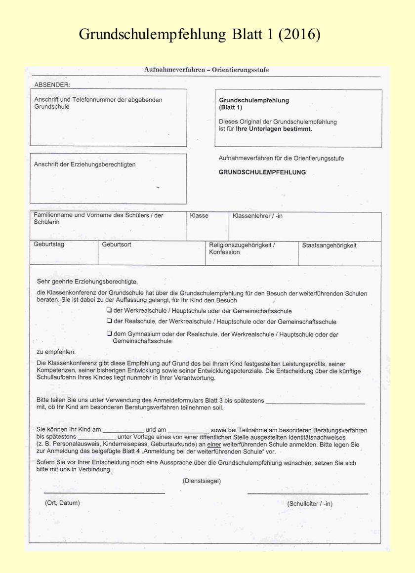 Grundschulempfehlung Blatt 1 (2016)