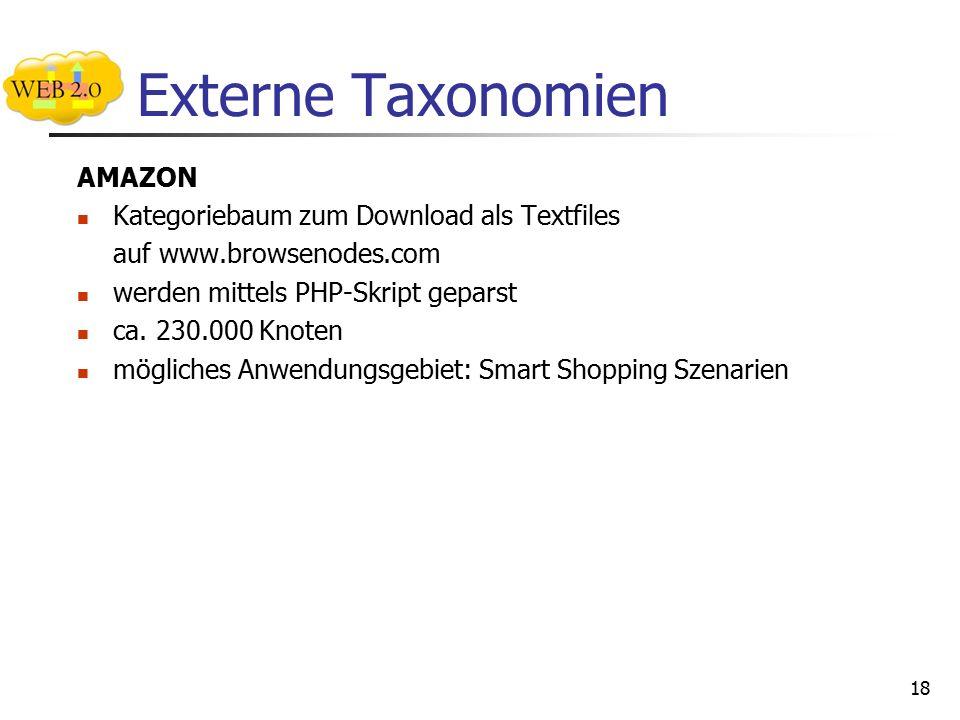Externe Taxonomien AMAZON Kategoriebaum zum Download als Textfiles auf www.browsenodes.com werden mittels PHP-Skript geparst ca.