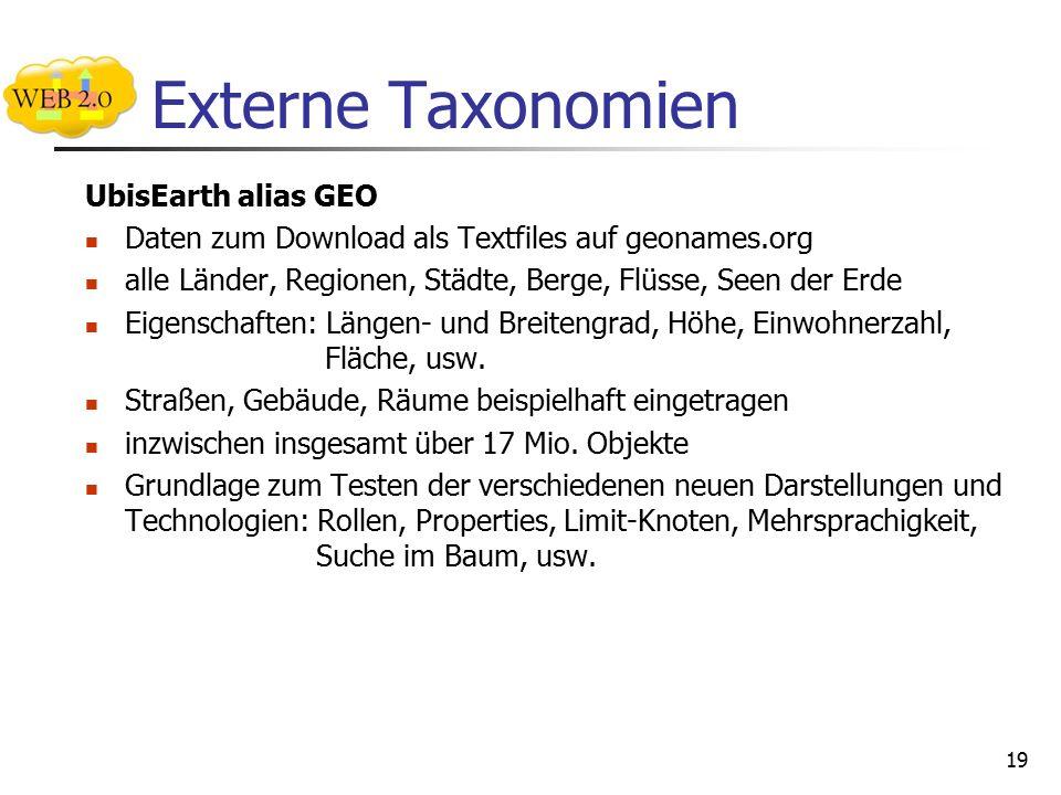 Externe Taxonomien UbisEarth alias GEO Daten zum Download als Textfiles auf geonames.org alle Länder, Regionen, Städte, Berge, Flüsse, Seen der Erde Eigenschaften: Längen- und Breitengrad, Höhe, Einwohnerzahl, Fläche, usw.