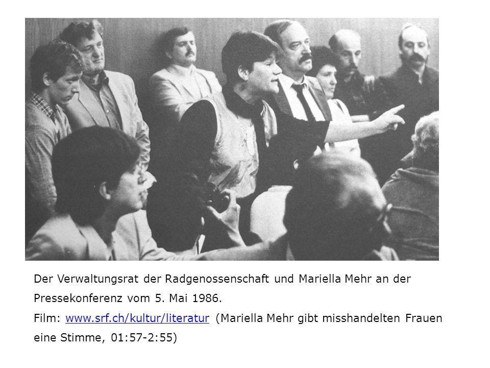 Der Verwaltungsrat der Radgenossenschaft und Mariella Mehr an der Pressekonferenz vom 5. Mai 1986. Film: www.srf.ch/kultur/literatur (Mariella Mehr gi