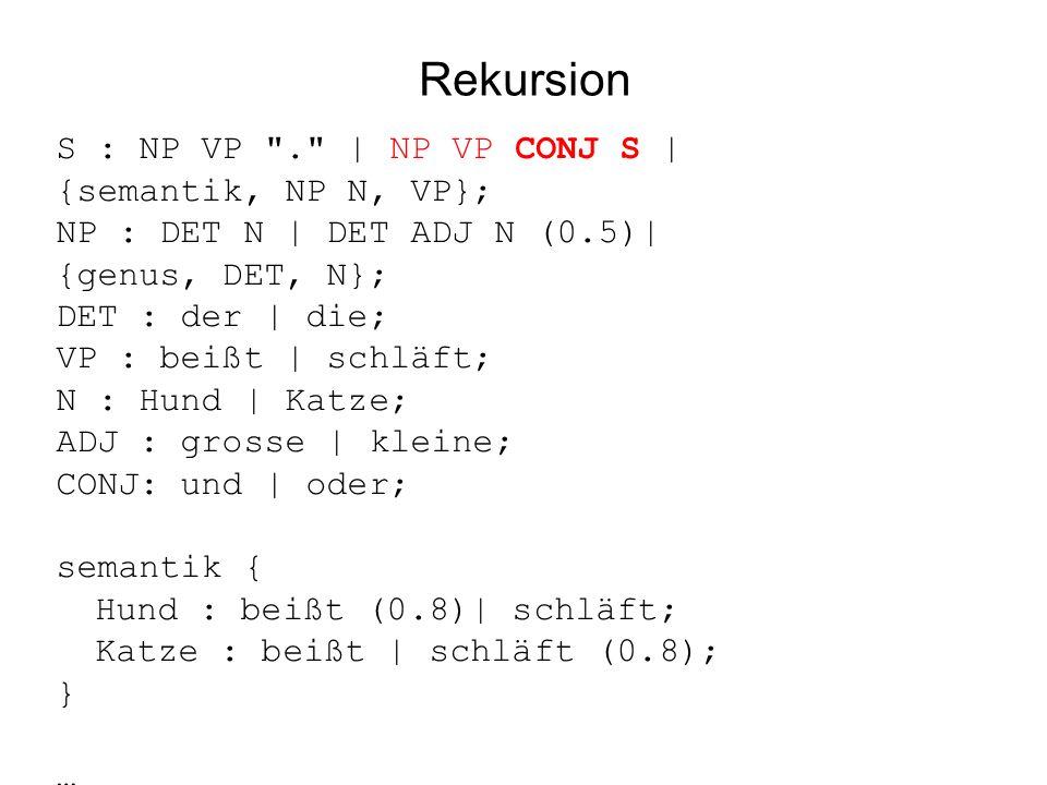 Rekursion S : NP VP . | NP VP CONJ S | {semantik, NP N, VP}; NP : DET N | DET ADJ N (0.5)| {genus, DET, N}; DET : der | die; VP : beißt | schläft; N : Hund | Katze; ADJ : grosse | kleine; CONJ: und | oder; semantik { Hund : beißt (0.8)| schläft; Katze : beißt | schläft (0.8); } …