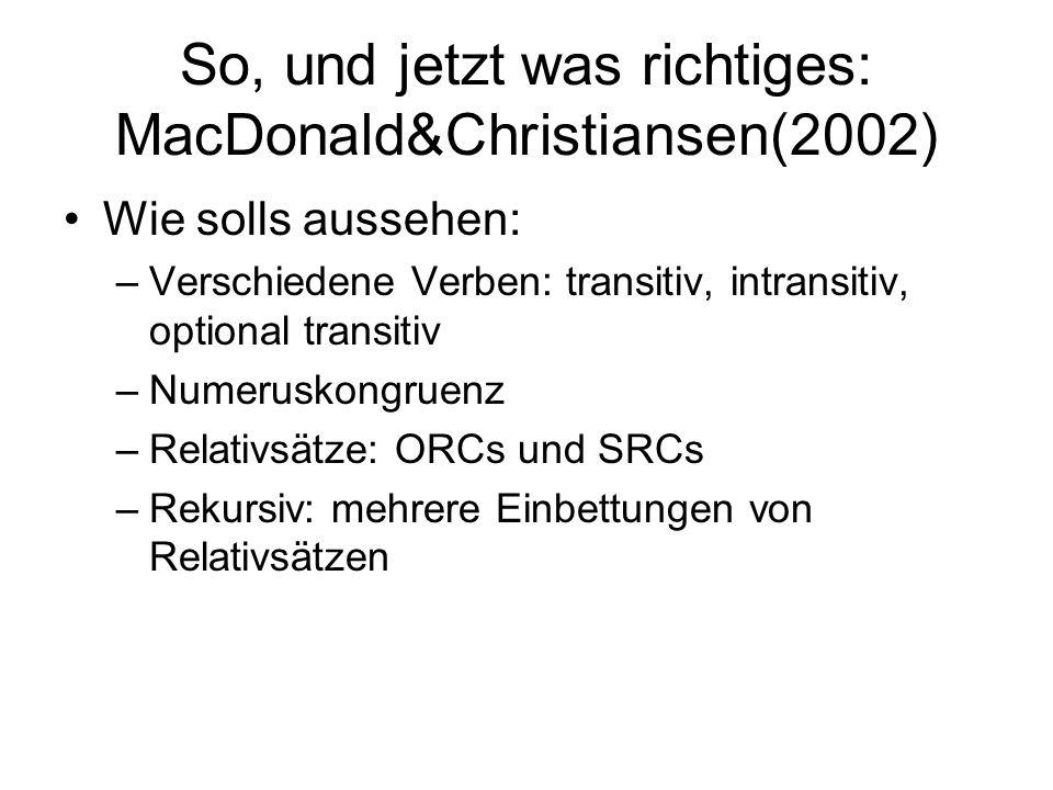 So, und jetzt was richtiges: MacDonald&Christiansen(2002) Wie solls aussehen: –Verschiedene Verben: transitiv, intransitiv, optional transitiv –Numeruskongruenz –Relativsätze: ORCs und SRCs –Rekursiv: mehrere Einbettungen von Relativsätzen