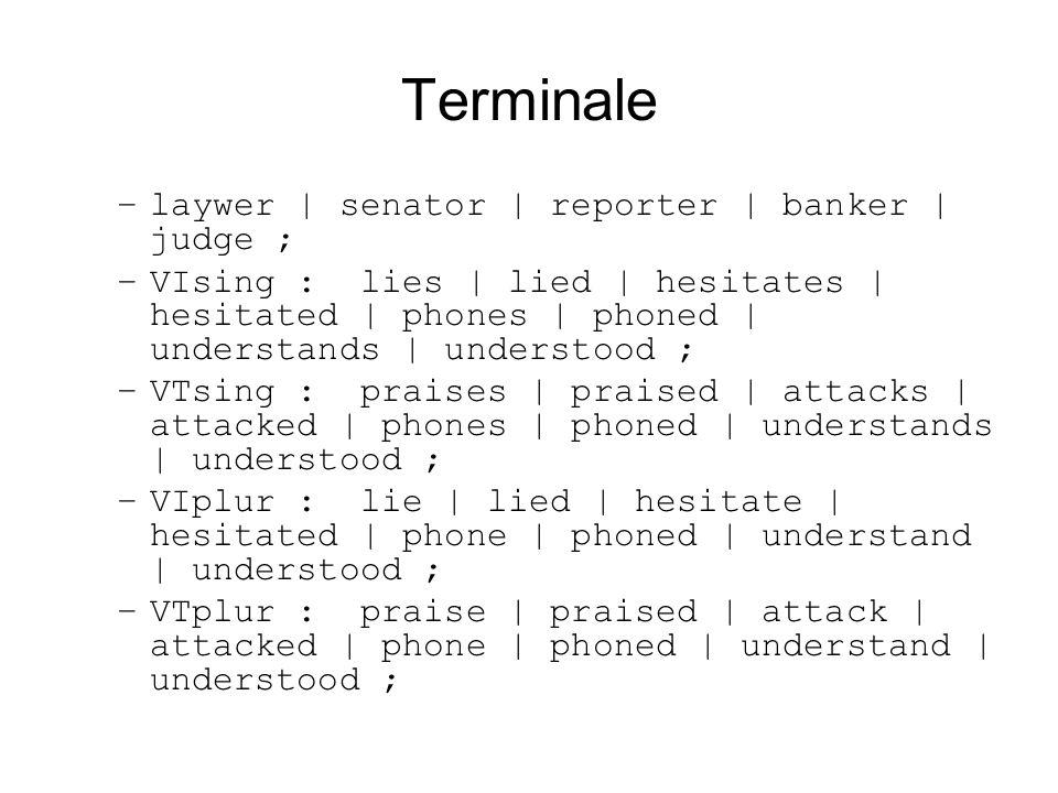 Terminale –laywer | senator | reporter | banker | judge ; –VIsing : lies | lied | hesitates | hesitated | phones | phoned | understands | understood ;
