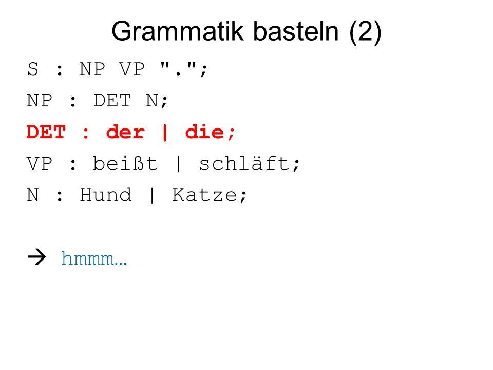 Grammatik basteln (2) S : NP VP . ; NP : DET N; DET : der | die; VP : beißt | schläft; N : Hund | Katze;  hmmm…