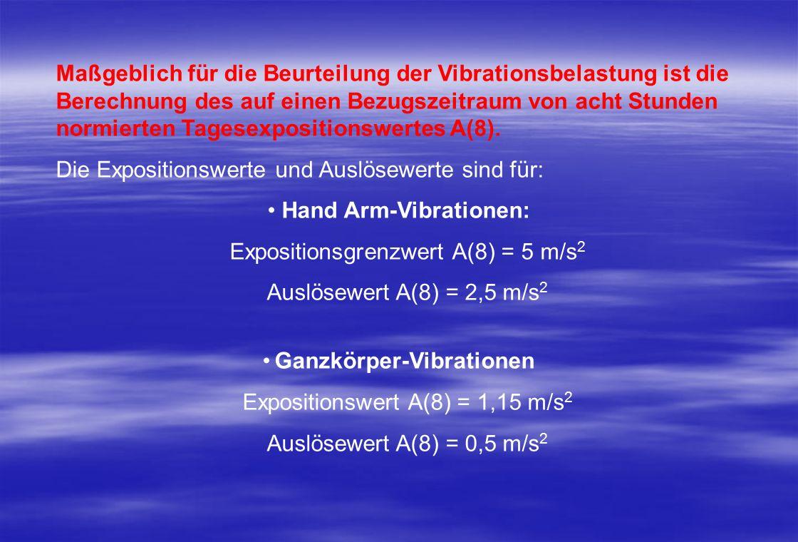 Maßgeblich für die Beurteilung der Vibrationsbelastung ist die Berechnung des auf einen Bezugszeitraum von acht Stunden normierten Tagesexpositionswertes A(8).