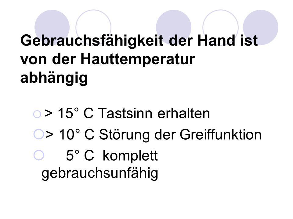 Gebrauchsfähigkeit der Hand ist von der Hauttemperatur abhängig  > 15° C Tastsinn erhalten  > 10° C Störung der Greiffunktion  5° C komplett gebrau