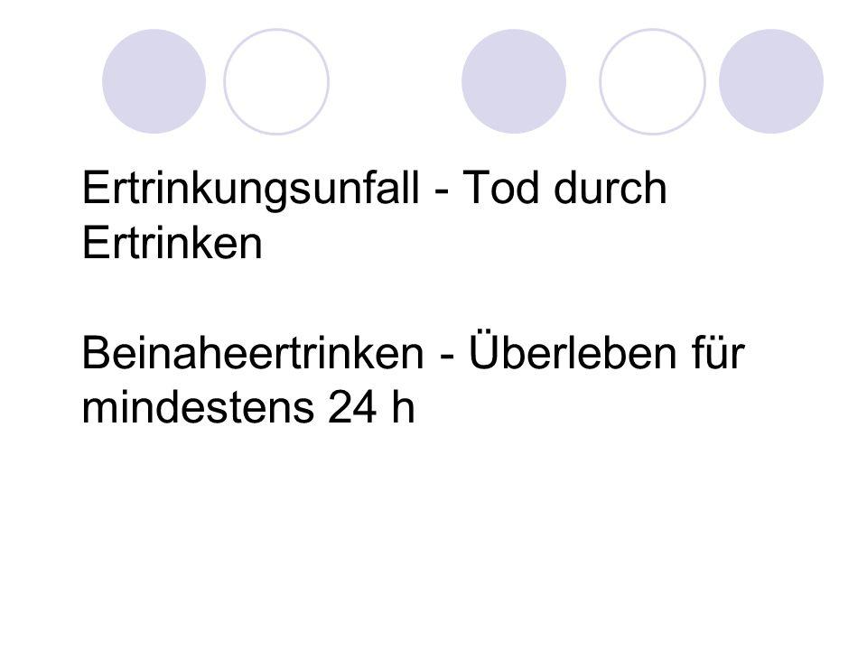 Ertrinkungsunfall - Tod durch Ertrinken Beinaheertrinken - Überleben für mindestens 24 h