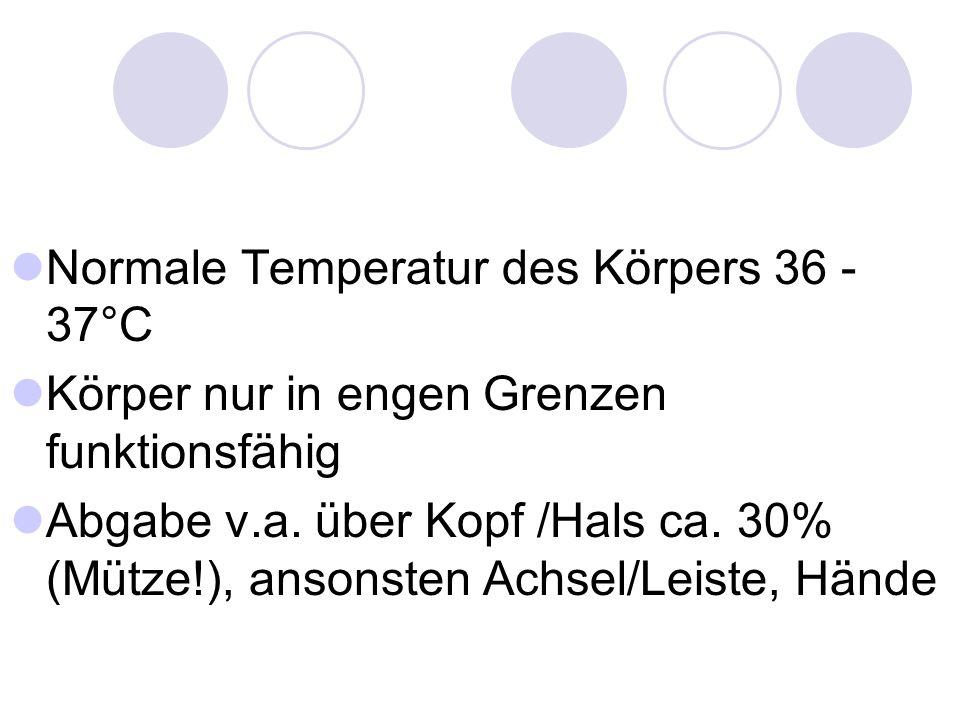 II° - Erschöpfungsstadium Körpertemperatur > 30°C kein Zittern .