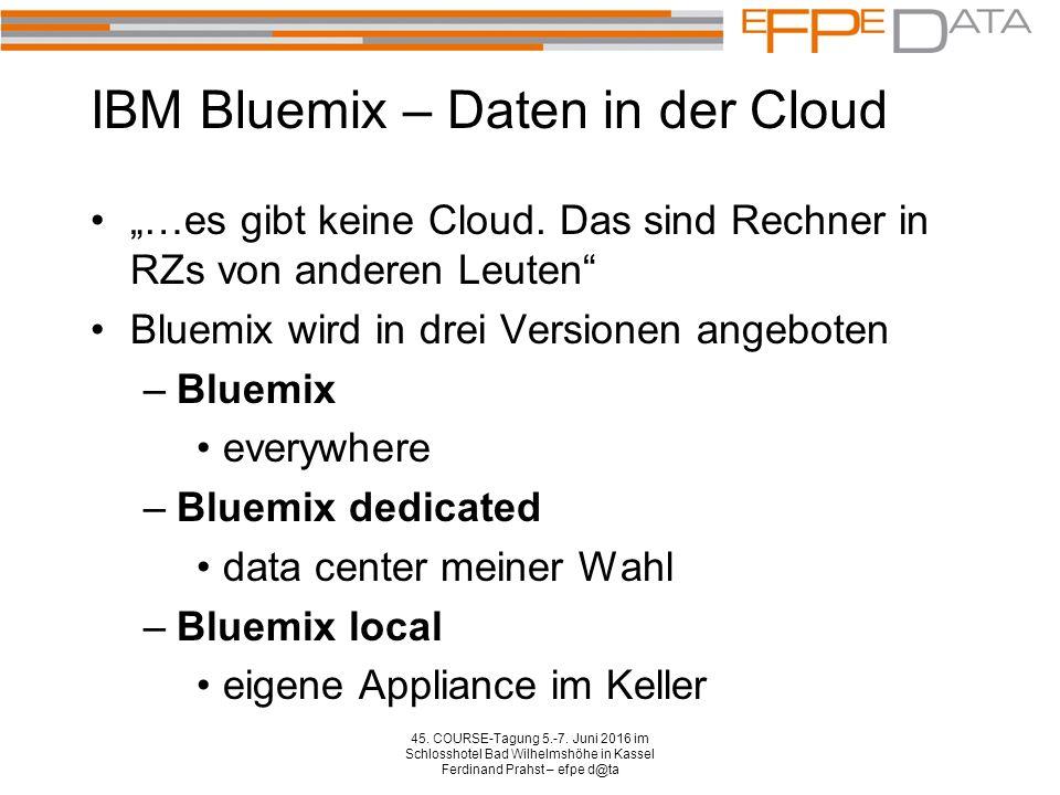 """IBM Bluemix – Daten in der Cloud """"…es gibt keine Cloud. Das sind Rechner in RZs von anderen Leuten"""" Bluemix wird in drei Versionen angeboten –Bluemix"""