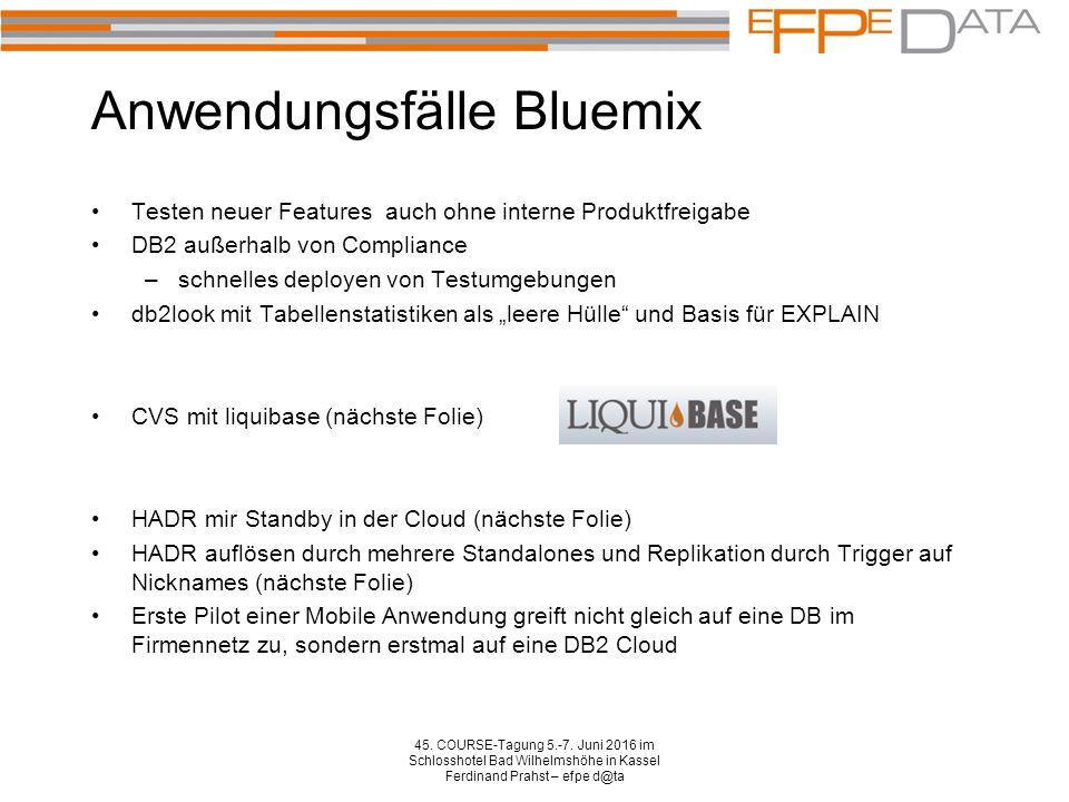 Anwendungsfälle Bluemix Testen neuer Features auch ohne interne Produktfreigabe DB2 außerhalb von Compliance –schnelles deployen von Testumgebungen db