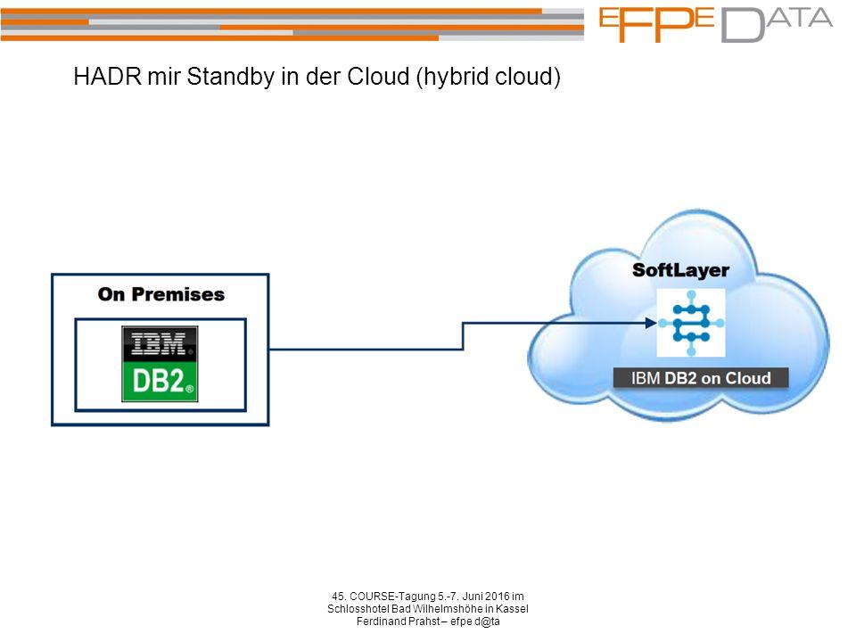HADR mir Standby in der Cloud (hybrid cloud) 45. COURSE-Tagung 5.-7. Juni 2016 im Schlosshotel Bad Wilhelmshöhe in Kassel Ferdinand Prahst – efpe d@ta