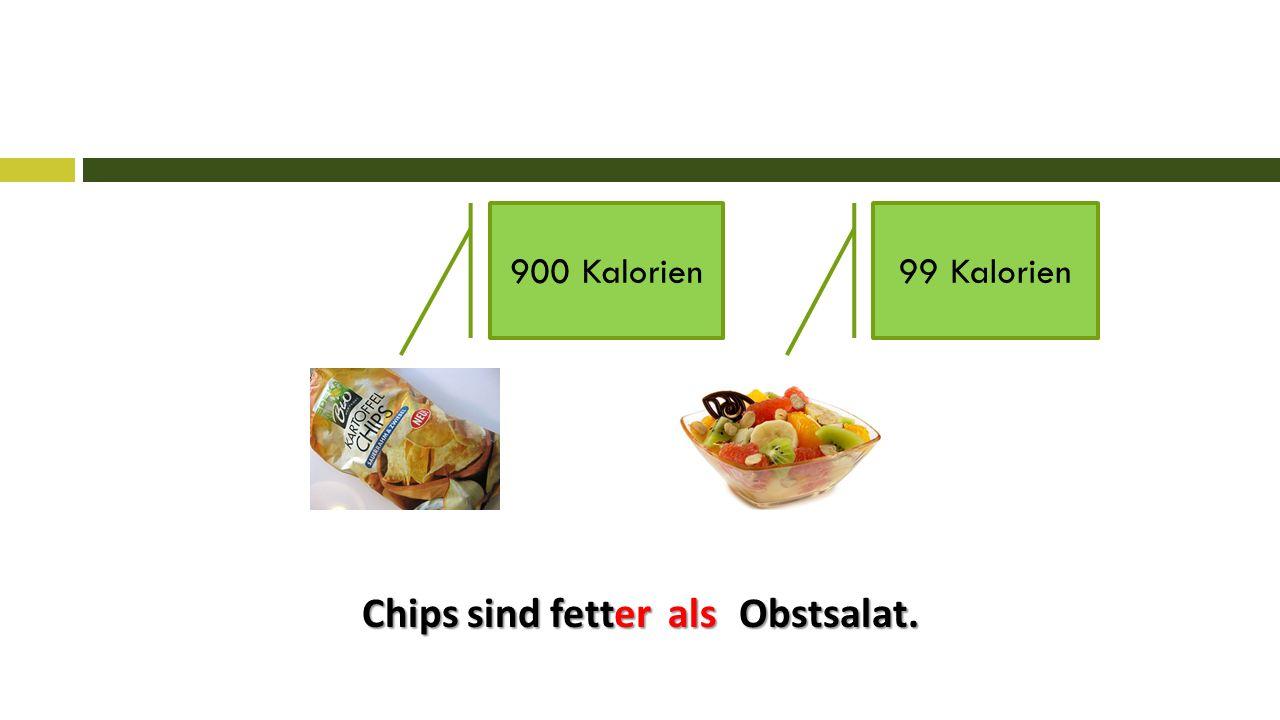Chips sind fett Obstsalat. 900 Kalorien99 Kalorien erals
