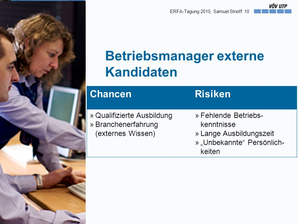 10 Betriebsmanager externe Kandidaten ChancenRisiken »Qualifizierte Ausbildung »Branchenerfahrung (externes Wissen) »Fehlende Betriebs- kenntnisse »La