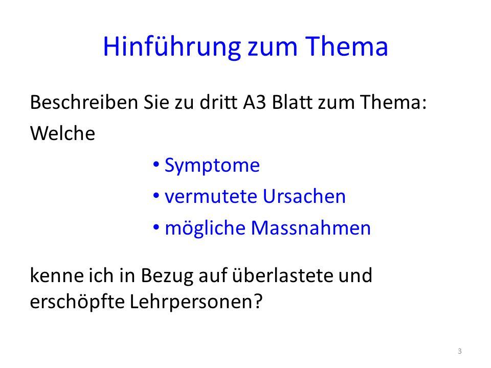 Hinführung zum Thema Beschreiben Sie zu dritt A3 Blatt zum Thema: Welche Symptome vermutete Ursachen mögliche Massnahmen kenne ich in Bezug auf überlastete und erschöpfte Lehrpersonen.