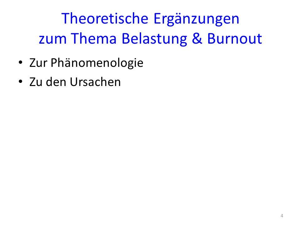 Theoretische Ergänzungen zum Thema Belastung & Burnout Zur Phänomenologie Zu den Ursachen 4