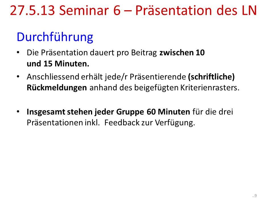 Durchführung Die Präsentation dauert pro Beitrag zwischen 10 und 15 Minuten.