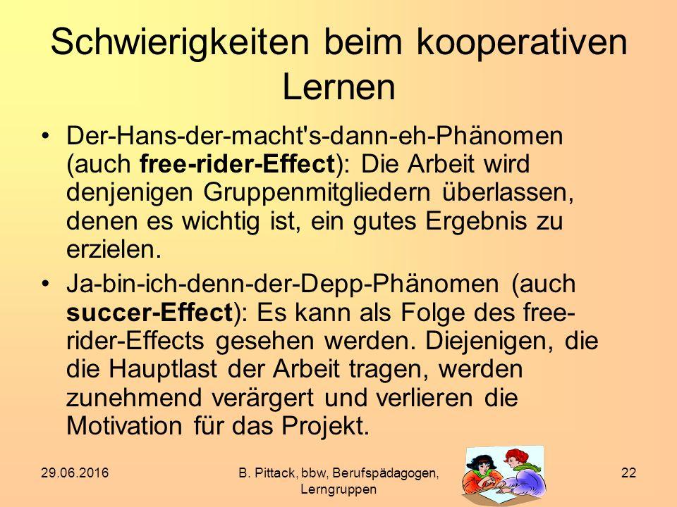 29.06.2016B. Pittack, bbw, Berufspädagogen, Lerngruppen 22 Schwierigkeiten beim kooperativen Lernen Der-Hans-der-macht's-dann-eh-Phänomen (auch free-r