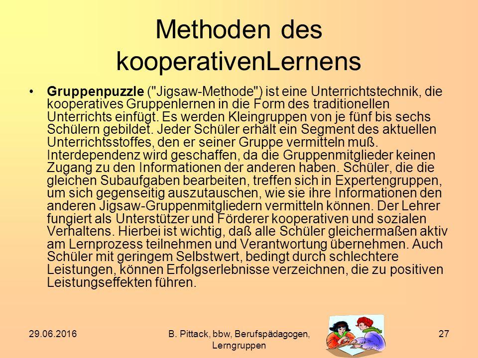 29.06.2016B. Pittack, bbw, Berufspädagogen, Lerngruppen 27 Methoden des kooperativenLernens Gruppenpuzzle (